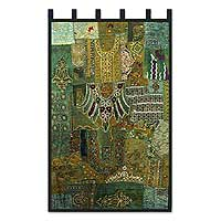 Cotton wall hanging, 'Monsoon Shower' - Embellished Cotton Wall Hanging from Gujarat
