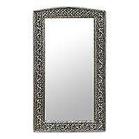 Mirror, 'Luxury' - Fair Trade Mirror Hand Craftd Repousse Brass Nickel