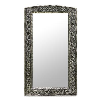 Mirror, 'Luxury' - Fair Trade Mirror Hand Craftd Repousse Brass Nickel