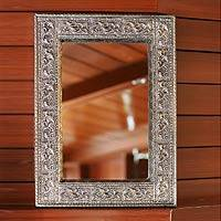 Mirror, 'Rapture' (medium) - Handmade Repousse Brass Nickel Mirror (Medium)