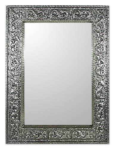 Mirror, 'Rapture' (medium) - Handmade Repousse Brass Nickel Mirror (Medium)