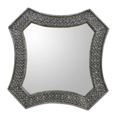 Antique Silver India Repoussé Nickel Over Brass Wall Mirror Stars