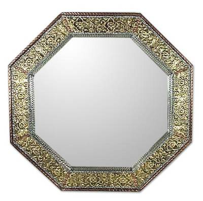 Mirror, 'Golden Floral Cloud' - Golden Repoussé Wall Mirror Handmade in India