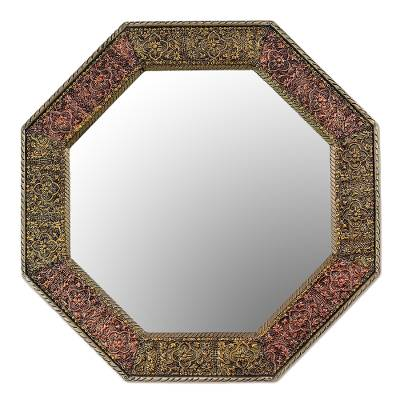 Mirror, 'Memories Beckon' - Repousse Brass Wall Mirror and Frame