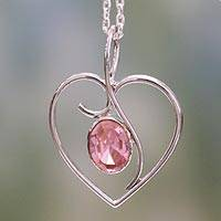 Sterling silver heart necklace, 'Pink Romance' - Heart Jewelry Necklace in Sterling Silver and Pink CZ