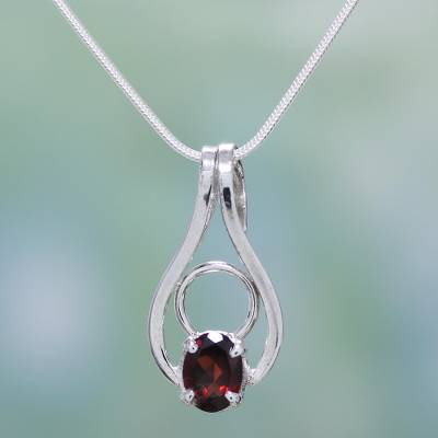Garnet pendant necklace, 'Angel of Love' - Sterling Silver and Garnet Necklace Modern Jewelry