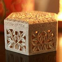 Soapstone jewelry box, 'White Jasmine' - Unique Floral Soapstone Jewelry Box from India