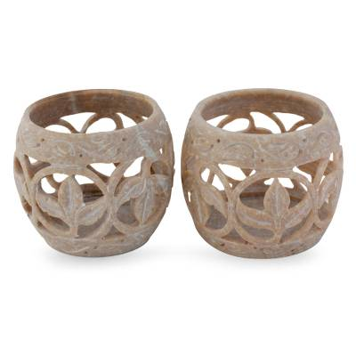 Soapstone candleholders, 'Fig Leaf' (pair) - Handcrafted Soapstone Candle Holders Set 2