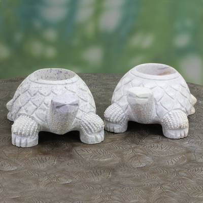 Soapstone candleholders, Turtle Twins