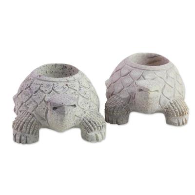 Soapstone candleholders, 'Turtle Twins' - Soapstone candleholders