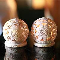 Soapstone candleholders, 'Sunflowers' (pair) - Hand Carved Floral Soapstone Candle Holders (Pair)