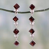 Garnet earrings, 'Ambition' - Sterling Silver and Garnet Dangle Earrings