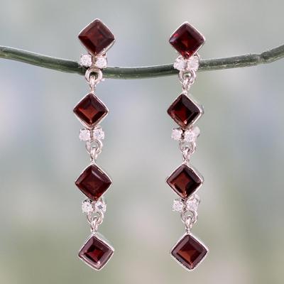 Garnet earrings, 'Ambition' - Sterling Silver and Garnet Dangle Earrings