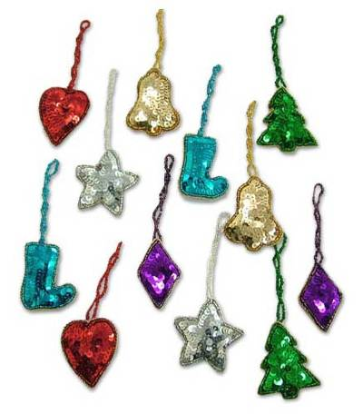 Ornaments, 'Christmas Sparkle' (set of 12) - Hand Made Beaded Christmas Tree Ornaments (Set of 12)