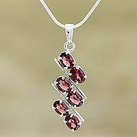 Garnet pendant necklace, 'Sky Fire' - Garnet Pendant Necklace Handmade in Sterling Silver India