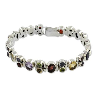 Multi-gemstone link bracelet, 'Sparkle' - Handmade Sterling Silver Link Bracelet Multigem Jewelry