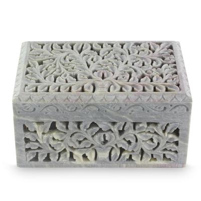 Hand Carved Jali Soapstone Jewelry Box