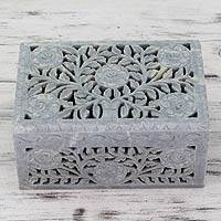 Soapstone jewelry box, 'White Roses' - Jali Soapstone Jewelry Box