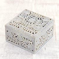 Soapstone jewelry box, 'Poppies'
