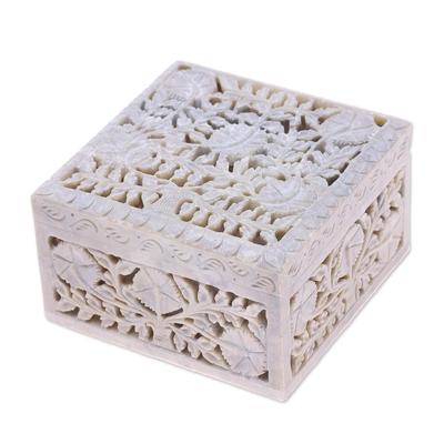 Jali Carving Soapstone Jewelry Box
