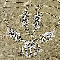 Rainbow moonstone jewelry set, 'Falling Leaves' - Unique Sterling Silver and Moonstone Women's Jewelry Set