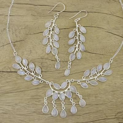 Rainbow moonstone jewelry set, 'Falling Leaves' - Moonstone and Sterling Silver jewellery Set Necklace Earring
