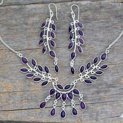 Amethyst jewelry set, 'Falling Leaves' - Floral Sterling Silver and Amethyst Jewelry Set