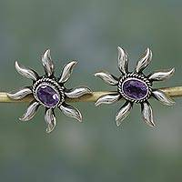 Amethyst button earrings, 'Purple Sun' - Handcrafted Star Sterling India Purple Jewel