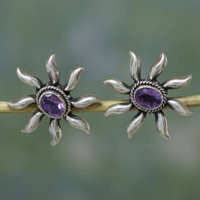 Amethyst button earrings, 'Purple Sun' - Handcrafted Floral Sterling Silver Button Amethyst Earrings