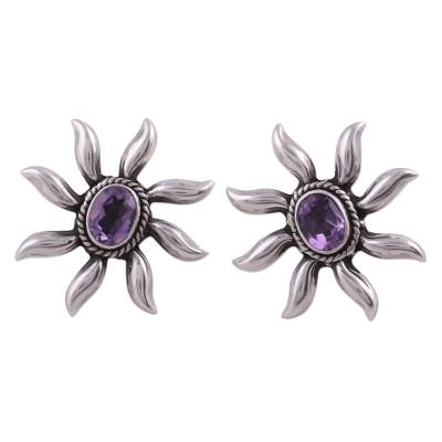 Handcrafted Floral Sterling Silver Button Amethyst Earrings