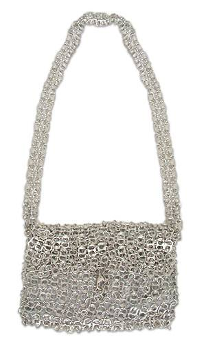 Soda pop-top shoulder bag, 'Shimmery Night' - Recycled aluminium Soda Pop-Top Handbag