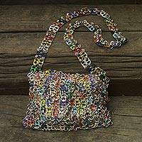 Soda pop-top shoulder bag, 'Joy' - Soda pop-top shoulder bag
