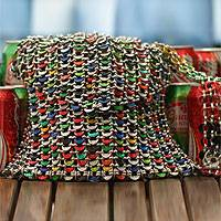 Soda pop-top shoulder bag, 'Silver Lining Eco-Charm'