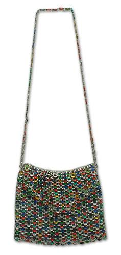 Soda pop-top shoulder bag, 'Silver Lining Eco-Charm' - Soda pop-top shoulder bag