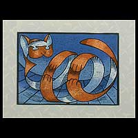 'Roly-Poly Tiger Cat' - Original Acrylic Surrealist Painting