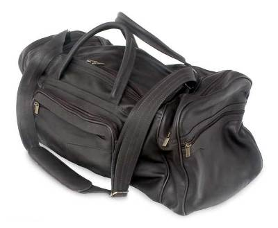 Leather travel bag, 'Brazil in Dark Brown' (large) - Leather travel bag
