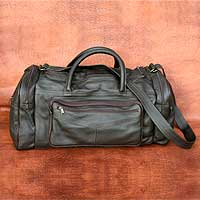 Leather travel bag, 'Brazil in Dark Brown' (medium) - Leather travel bag (Medium)