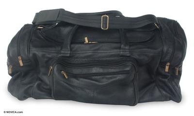 Leather travel bag, 'Brazil in Black' (large) - Leather travel bag (Large)