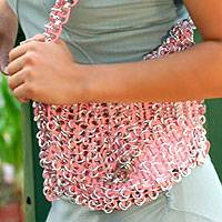 Soda pop-top shoulder bag, 'Shimmery Morn' - Soda pop-top shoulder bag