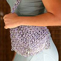 Soda pop-top handbag, 'Lilac Spark' - Soda pop-top handbag