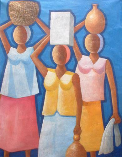 'Labor Women' (2005) - Carrying Water Original Oil Painting