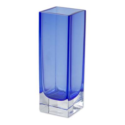 Handblown art glass vase, 'Radiance in Blue' - Hand Blown and Watertight Murano Inspired Glass Vase