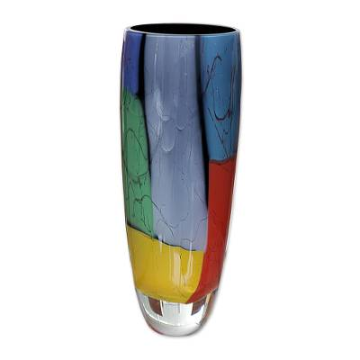 Handblown art glass vase, 'Elegance - Black Rim' - Unique Handblown Glass Vase