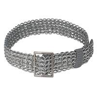 Soda pop-top belt, 'Wide Silver Chain Mail' - Recycled aluminium Soda Pop Top Belt