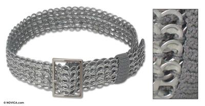 Soda pop-top belt, 'Wide Silver Chain Mail' - Recycled Aluminum Soda Pop Top Belt