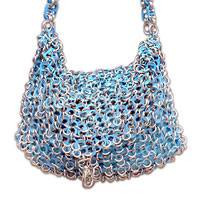Soda pop-top handbag, 'Turquoise Spark' - Recycled Aluminum Soda Pop-Top Shoulderbag