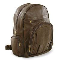Multi-pocket leather backpack, 'Brazilian Beige' - Multi-pocket leather backpack