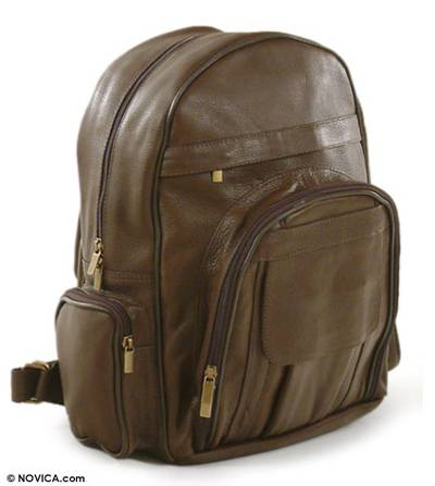 Multi-pocket leather backpack