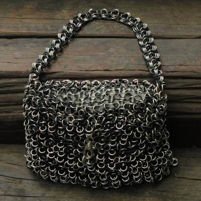Soda pop-top shoulder bag, 'Shimmery Night' - Black Crochet Recycled Poptop Shoulder Bag from Brazil