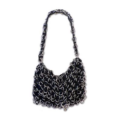 Black Crochet Recycled Poptop Shoulder Bag from Brazil